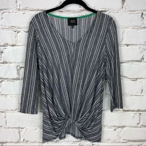 W5 striped tie front knit top Anthropologie S